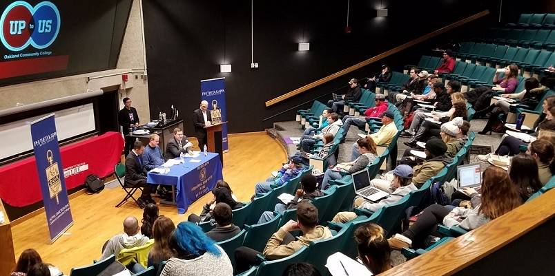 An 'Up to Us'panel discussion moderated by Political Science Discipline Chair Jeffrey Farrah which included Oakland County Treasurer Andy Meisner, OCC Professor Daniel Lawson and Political Advisor Doug Tietz.