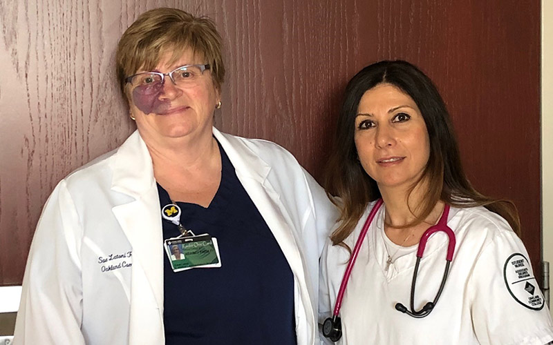 Nursing student Saba Putrus with her instructor Susan Latoni.